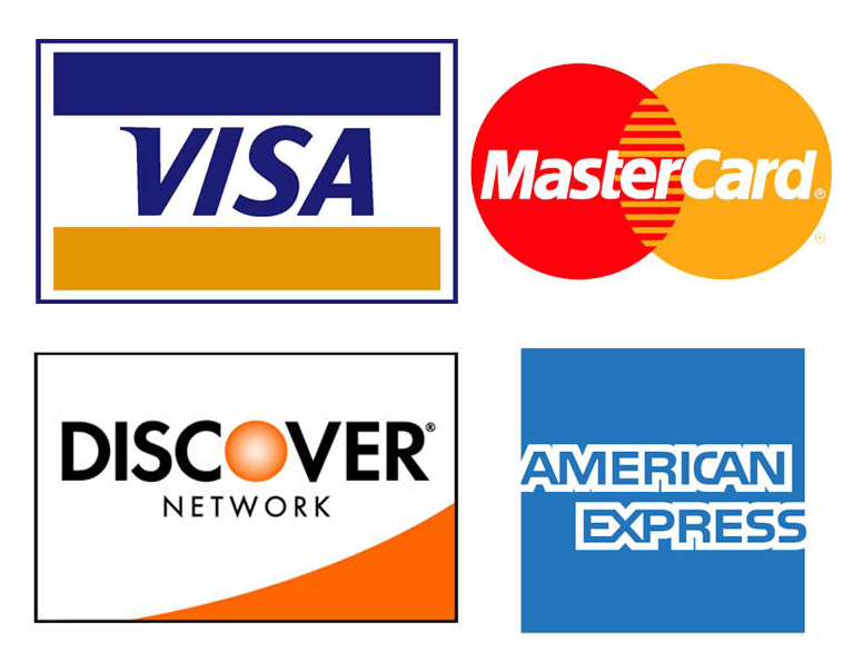 VISA, MasterCard, American Express, Discover, PayPal accepted